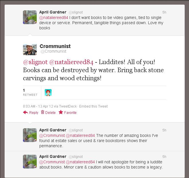 A picture of a Twitter exchange between myself and Slignot
