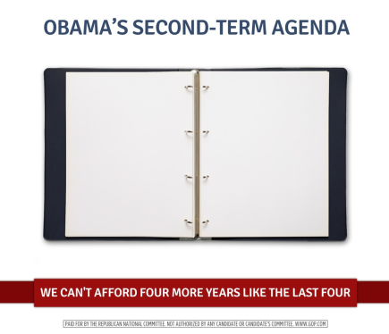 """An empty binder, with a caption reading """"Obama's second-term agenda"""""""